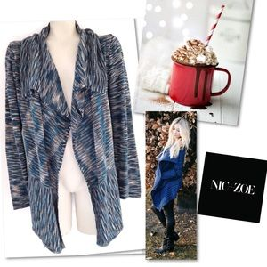 NIC + ZOE BLUE SPACE DYE OPEN SWEATER CARDIGAN M